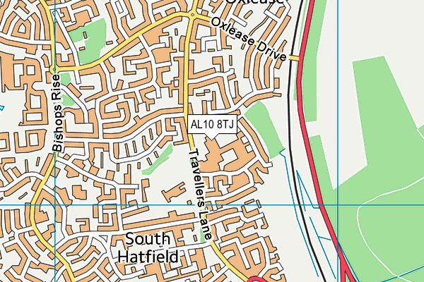 Hatfield Leisure Centre map (AL10 8TJ) - OS VectorMap District (Ordnance Survey)