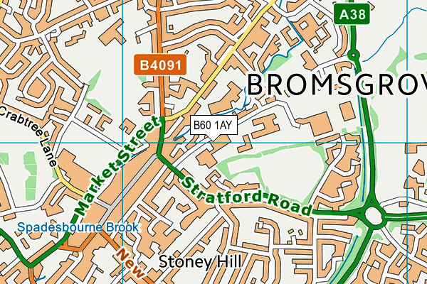 Bromsgrove Leisure Centre map (B60 1AY) - OS VectorMap District (Ordnance Survey)