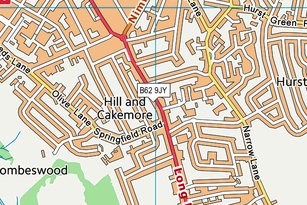 Long Lane Library map (B62 9JY) - OS VectorMap District (Ordnance Survey)
