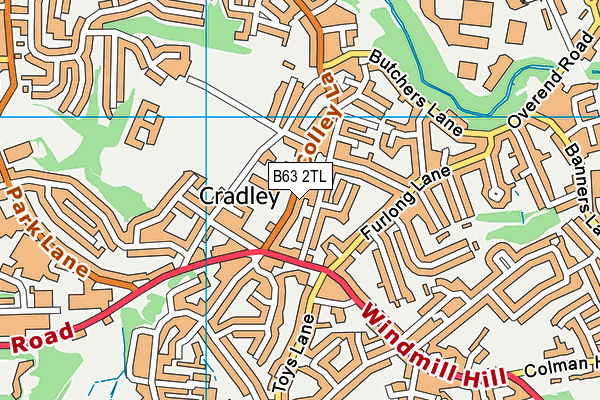 Cradley Library map (B63 2TL) - OS VectorMap District (Ordnance Survey)