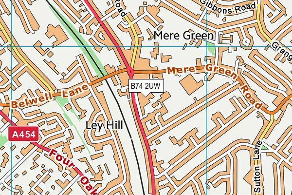 Better Gym Mere Green map (B74 2UW) - OS VectorMap District (Ordnance Survey)