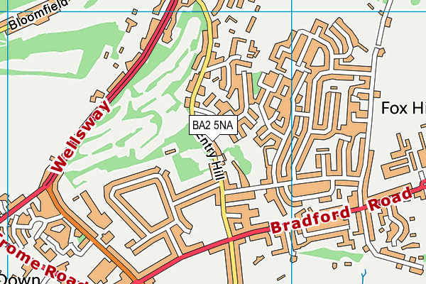 Entry Hill Golf Course map (BA2 5NA) - OS VectorMap District (Ordnance Survey)