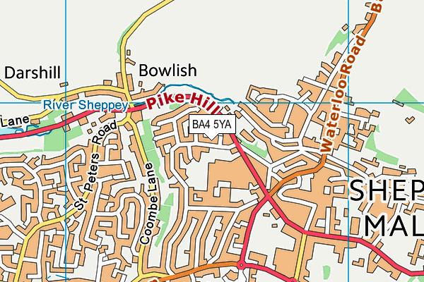 Shepton Mallet Lido map (BA4 5YA) - OS VectorMap District (Ordnance Survey)