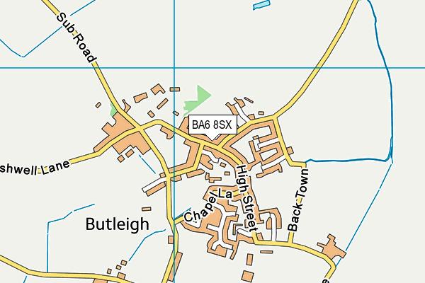 Butleigh C Of E School map (BA6 8SX) - OS VectorMap District (Ordnance Survey)