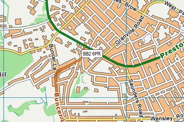 BB2 6PR map - OS VectorMap District (Ordnance Survey)