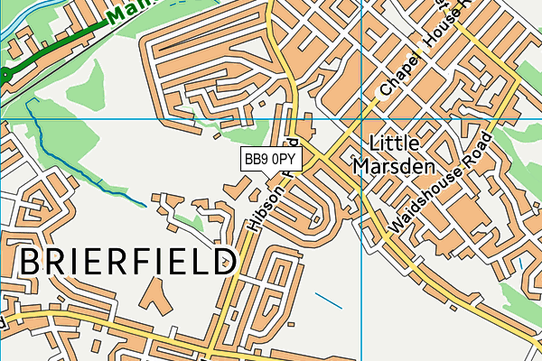 Edge End Playing Fields map (BB9 0PY) - OS VectorMap District (Ordnance Survey)