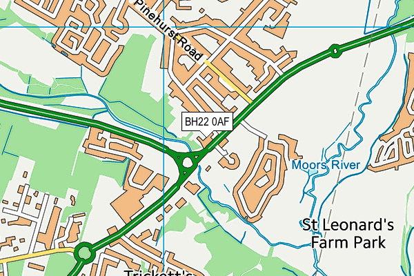 BH22 0AF map - OS VectorMap District (Ordnance Survey)