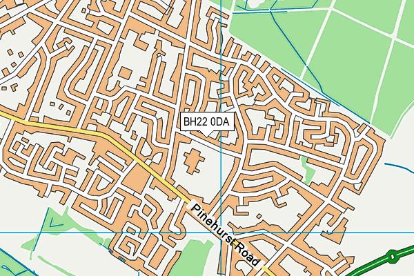 West Moors Middle School map (BH22 0DA) - OS VectorMap District (Ordnance Survey)