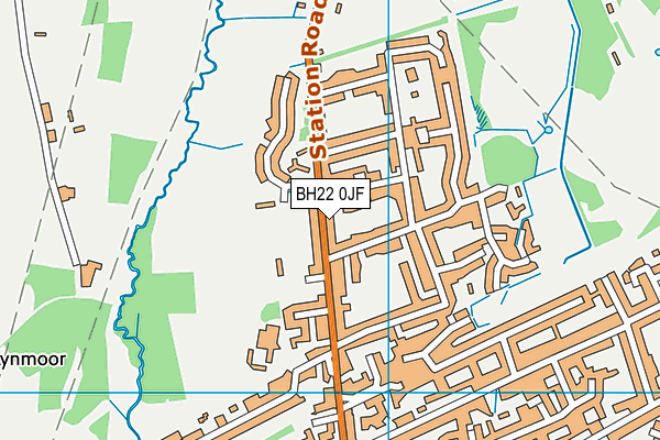 West Moors, St Mary's Church of England Voluntary Controlled First School map (BH22 0JF) - OS VectorMap District (Ordnance Survey)