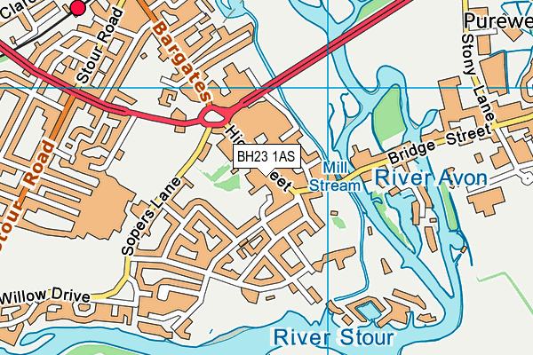 Urban Health & Fitness (Christchurch) map (BH23 1AS) - OS VectorMap District (Ordnance Survey)