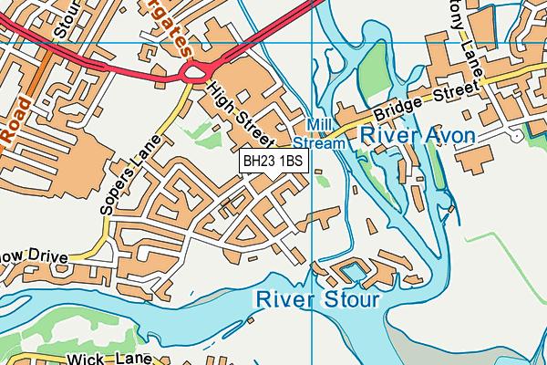 BH23 1BS map - OS VectorMap District (Ordnance Survey)
