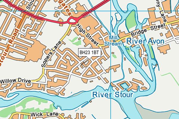 BH23 1BT map - OS VectorMap District (Ordnance Survey)