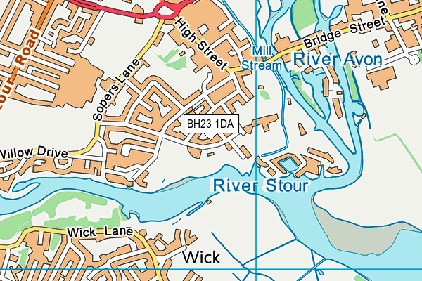 BH23 1DA map - OS VectorMap District (Ordnance Survey)