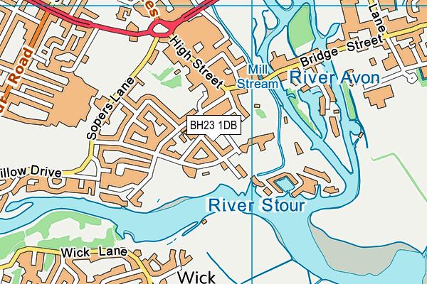 BH23 1DB map - OS VectorMap District (Ordnance Survey)