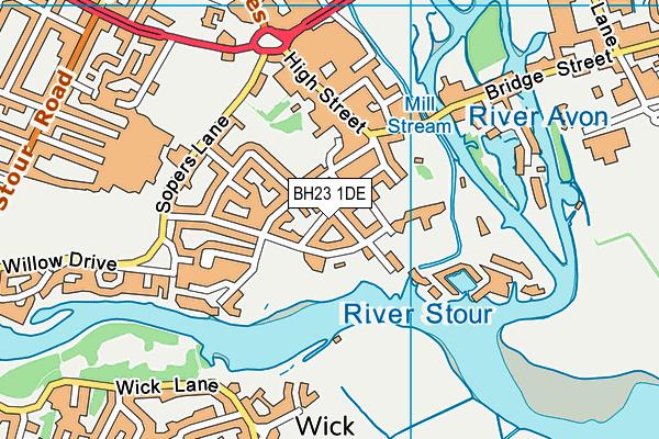 BH23 1DE map - OS VectorMap District (Ordnance Survey)