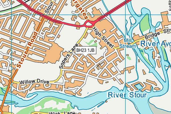BH23 1JB map - OS VectorMap District (Ordnance Survey)