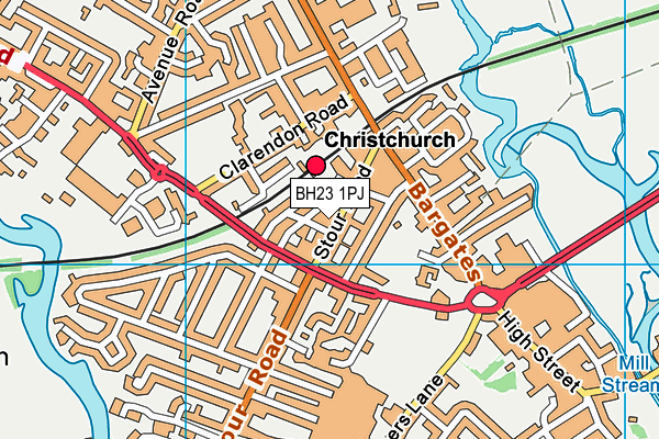 Christchurch Learning Centre map (BH23 1PJ) - OS VectorMap District (Ordnance Survey)