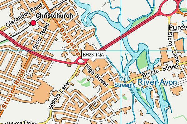 Anytime Fitness (Christchurch) map (BH23 1QA) - OS VectorMap District (Ordnance Survey)