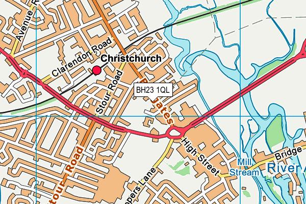 BH23 1QL map - OS VectorMap District (Ordnance Survey)
