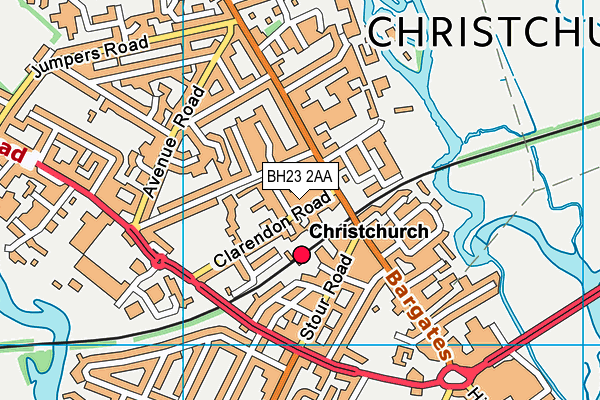 Christchurch Junior School map (BH23 2AA) - OS VectorMap District (Ordnance Survey)