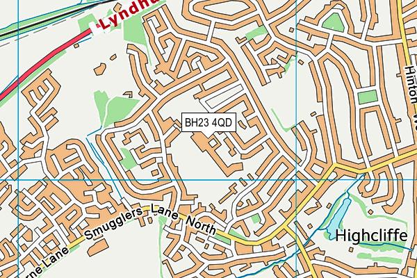 Highcliffe School map (BH23 4QD) - OS VectorMap District (Ordnance Survey)