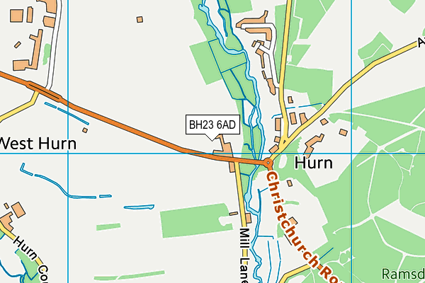 BH23 6AD map - OS VectorMap District (Ordnance Survey)