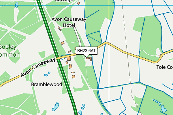 BH23 6AT map - OS VectorMap District (Ordnance Survey)
