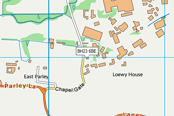 BH23 6BE map - OS VectorMap District (Ordnance Survey)
