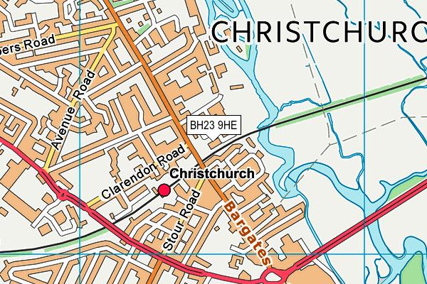BH23 9HE map - OS VectorMap District (Ordnance Survey)