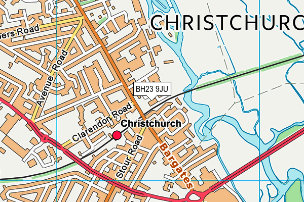 BH23 9JU map - OS VectorMap District (Ordnance Survey)