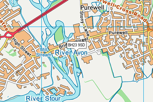 BH23 9SD map - OS VectorMap District (Ordnance Survey)