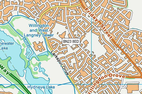 Shinewater Primary School map (BN23 8ED) - OS VectorMap District (Ordnance Survey)