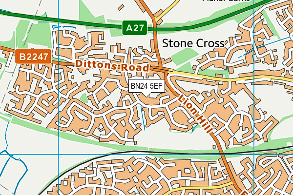 Stone Cross School map (BN24 5EF) - OS VectorMap District (Ordnance Survey)