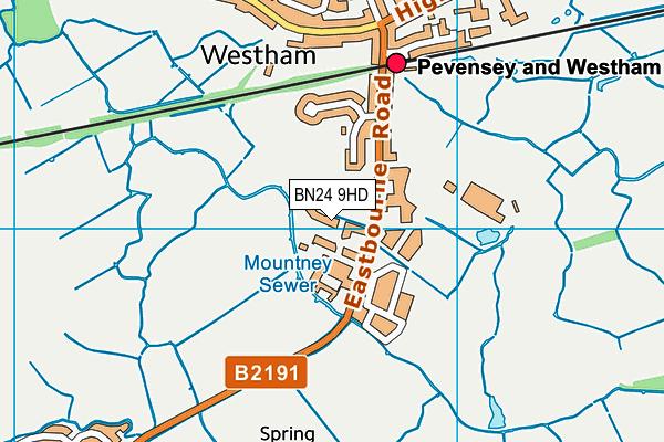 BN24 9HD map - OS VectorMap District (Ordnance Survey)
