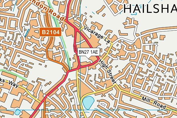 BN27 1AE map - OS VectorMap District (Ordnance Survey)