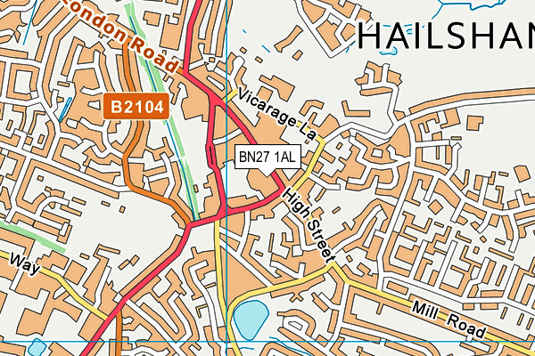 BN27 1AL map - OS VectorMap District (Ordnance Survey)