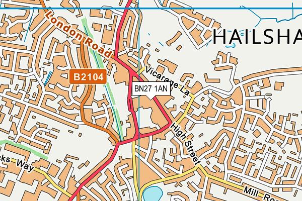 BN27 1AN map - OS VectorMap District (Ordnance Survey)