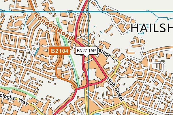 BN27 1AP map - OS VectorMap District (Ordnance Survey)