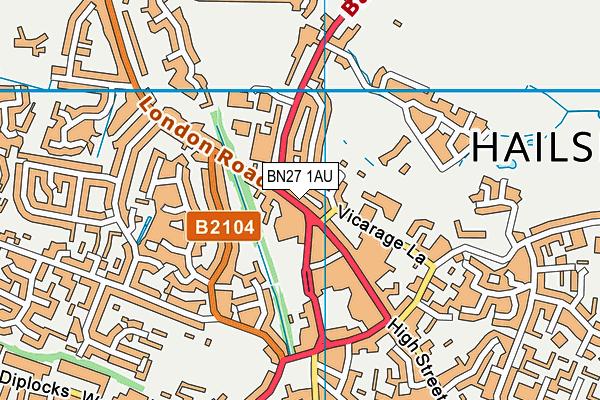 BN27 1AU map - OS VectorMap District (Ordnance Survey)