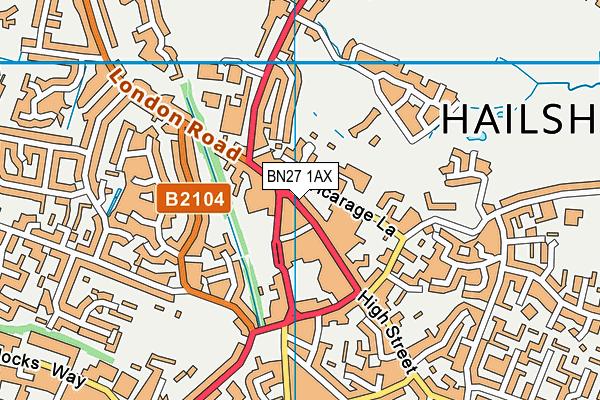 BN27 1AX map - OS VectorMap District (Ordnance Survey)