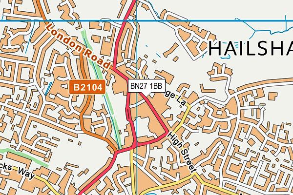 BN27 1BB map - OS VectorMap District (Ordnance Survey)