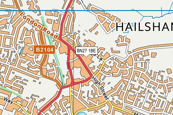 BN27 1BE map - OS VectorMap District (Ordnance Survey)