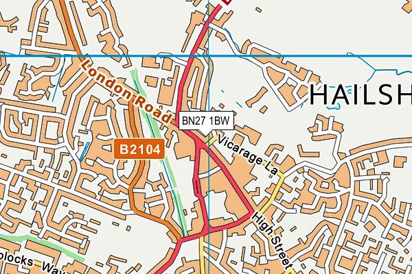 BN27 1BW map - OS VectorMap District (Ordnance Survey)