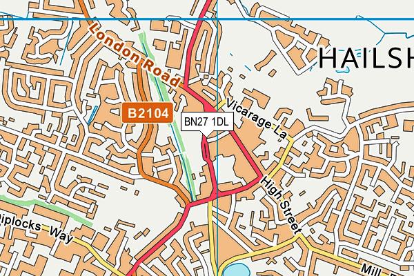 BN27 1DL map - OS VectorMap District (Ordnance Survey)