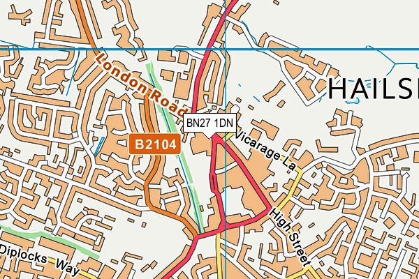 BN27 1DN map - OS VectorMap District (Ordnance Survey)