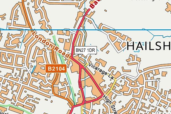 BN27 1DR map - OS VectorMap District (Ordnance Survey)