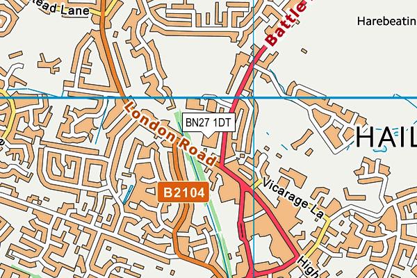 Hailsham Community College map (BN27 1DT) - OS VectorMap District (Ordnance Survey)