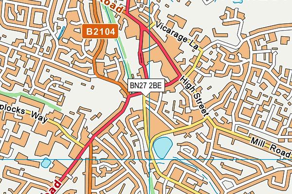 BN27 2BE map - OS VectorMap District (Ordnance Survey)