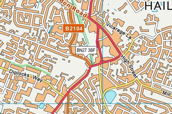 BN27 3BF map - OS VectorMap District (Ordnance Survey)