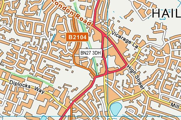 BN27 3DH map - OS VectorMap District (Ordnance Survey)